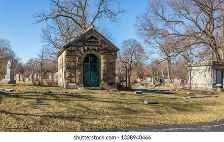 Chicago, USA - March 14, 2019: Views of Graceland Cemetery. Graceland Cemetery is a large Victorian era cemetery located in the north side community area of Uptown, in the city of Chicago