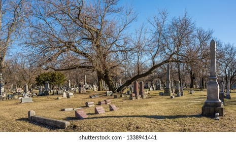 Chicago, USA - March 14, 2019: Panoramic view of an ancient cemetery in the city of Chicago.