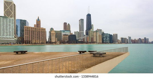 Chicago, USA - March 14, 2019: A panoramic view of the Skyline of the city of Chicago, Illinois.