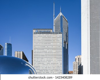 CHICAGO, USA - MARCH 14, 2019: Chicago skyline viewed from Millenium Park during early spring.  Chicago is the third most popukous city in the US.