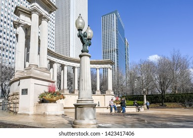 CHICAGO, USA - MARCH 14, 2019: Millenium Park during early spring.  Chicago is the third most populous city in the US.