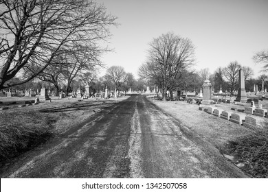 Chicago, USA - March 18, 2019: Views of Graceland Cemetery. Graceland Cemetery is a large Victorian era cemetery located in the north side community area of Uptown, in the city of Chicago