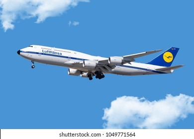 Chicago, USA - March 19, 2018: A Lufthansa Boeing 747-800 displaying the retro livery landing at O'Hare International Airport.