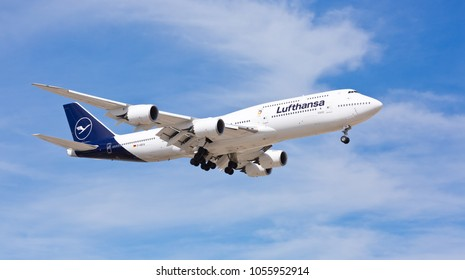 Chicago, USA - March 27, 2018: A Lufthansa Boeing 747-800 displaying the new livery landing at O'Hare International Airport.