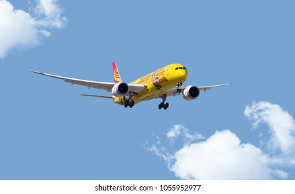 Chicago, USA - March 27, 2018: A Hainan Airlines Boeing 787 aircraft displaying the Kung Fu Panda livery, on final approach to O'Hare International Airport.