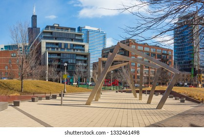 Chicago, USA - March 7, 2019: Winter view of the turning squares sculpture at Mary Bartelme Park in Chicago.