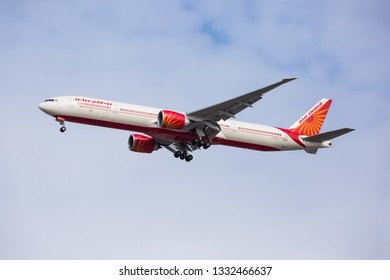 Chicago, USA - March 7, 2019: A Boeing 777-300 aircraft of Air India Airlines landing at O'Hare International Airport.