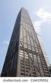 Chicago, USA - May 10, 2011: 875 North Michigan Avenue, built as and still commonly referred to as the John Hancock Center, is a 100-story, 1,128-foot supertall skyscraper.
