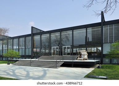 CHICAGO, USA - MAY 10, 2011: S. R. Crown Hall, designed by the German Modernist architect Ludwig Mies van der Rohe at the Illinois Institute of Technology in Chicago, USA.