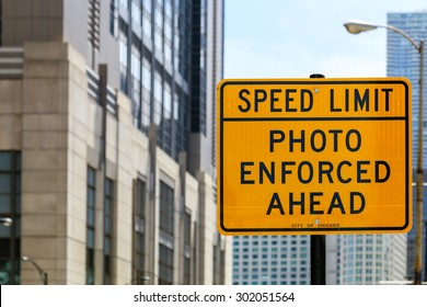 CHICAGO, USA - MAY 24, 2014: Sign marking an area where speed limit is enforced by photo.