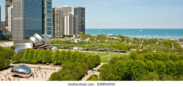 Chicago, USA - May 25, 2018: Aerial view of Millennium Park in Chicago with lake Michigan in the background.