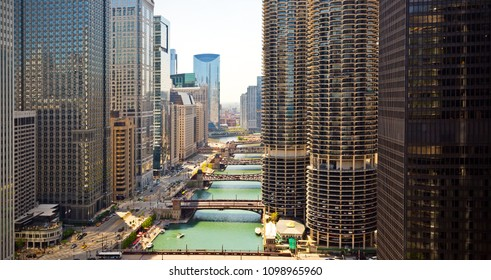 Chicago, USA - May 25, 2018: Chicago loop buildings and its bridges by the Chicago River.