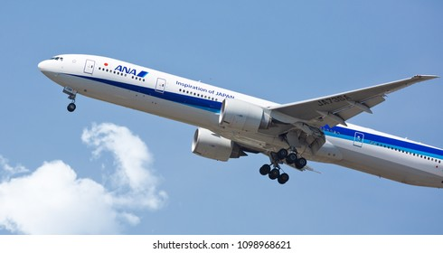 Chicago, USA - May 25, 2018: A All Nippon Airways (ANA) Boeing 777-300 on final approach to O'Hare International Airport.