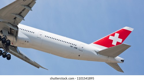 Chicago, USA - May 30, 2018: Swiss airline Boeing 777 aircraft on final approach to O'Hare International Airport. Swiss is the national airline of Switzerland.