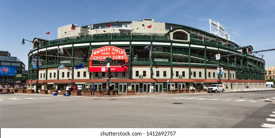 Chicago, USA - May 31, 2019: The Wrigley Field Baseball Stadium is Home of the Chicago Cubs since 1916.