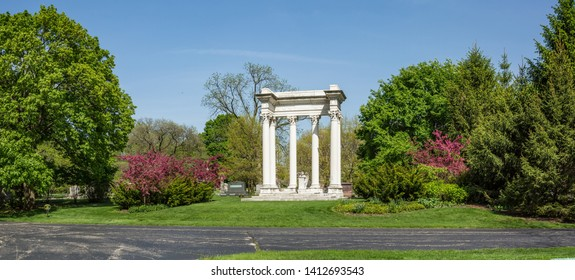 Chicago, USA - May 31, 2019: Views of Graceland Cemetery. Graceland Cemetery is a large Victorian era cemetery located in the north side community area of Uptown, in the city of Chicago.