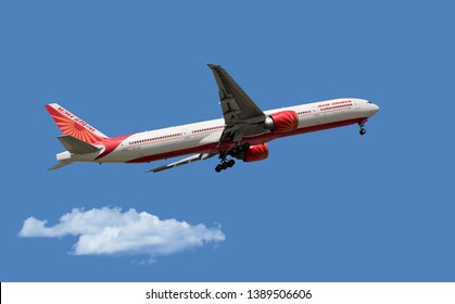 Chicago, USA - May 5, 2019: A Boeing 777-300 aircraft of Air India Airlines landing at O'Hare International Airport.