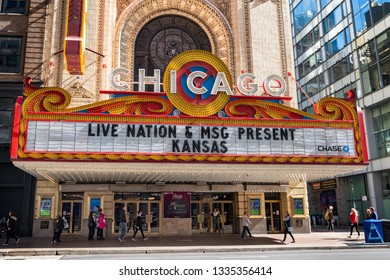 Chicago, USA - October 13, 2018 : Iconic sign on the Chicago Theater in Chicago. The theater opened in 1921 and was renovated in the 1980's. This sign is a famous landmark and emblematic of Chicago