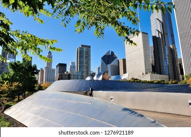 Chicago, USA - October 18, 2018 - The BP Pedestrian Bridge (or BP Bridge)  connecting Maggie Daley Park (Daley Bicentennial Plaza) with Millennium Park in the Loop community area of Chicago, Illinois