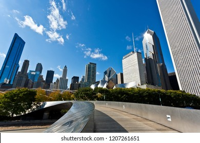 Chicago, USA - October 19, 2018: Views of Millennium Park with the Chicago skyline in the background.