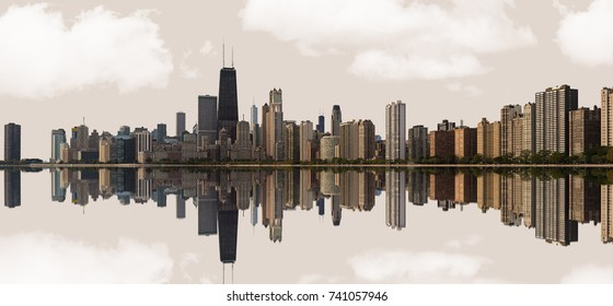 Chicago, USA - October 24, 2017: A panoramic view of the Skyline of the city of Chicago, Illinois.