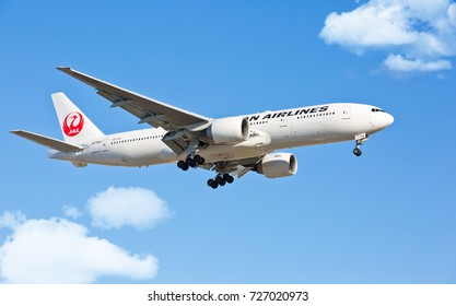 Chicago, USA - October 3, 2017: A Japan Airlines Boeing 777 landing at O'Hare International Airport.
