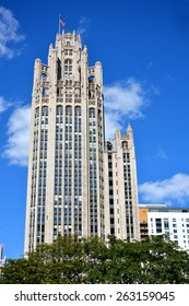 CHICAGO, USA - OCTOBER 6: Famous Tribune building in downtown of Chicago, Illinois, in October 6th, 2014.Chicago is the biggest city in North of USA.
