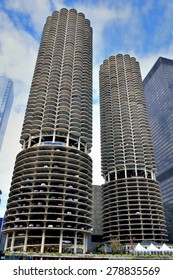 CHICAGO, USA - OCTOBER 6: Chicago Marina twins towers beside Chicago river in downtown of Chicago, Illinois, in October 6th, 2014.Chicago is the biggest city in North of USA.