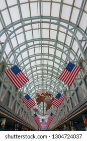 Chicago, USA - September 10, 2018: American flags decorations in Ohare airport