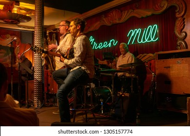 Chicago, USA - September 10, 2018: Green mill Jazz cafe neon sign
