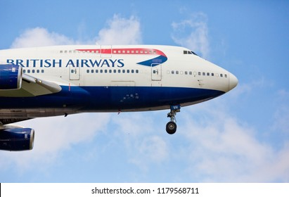 Chicago, USA - September 14, 2018: British Airways Boeing 747 aircraft landing at O'Hare International Airport.
