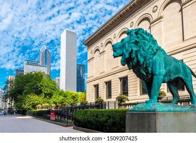 Chicago, Usa - September 14, 2019 : The Art Institute on Michigan Street view in Chicago Downtown in Usa.