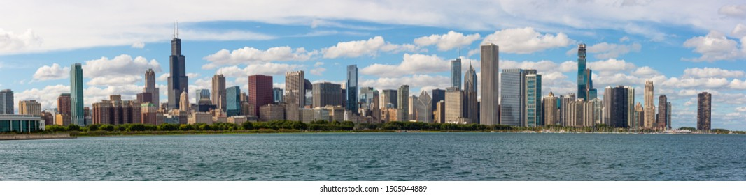 Chicago, USA - September 15, 2019: A panoramic view of the Skyline of the city of Chicago, Illinois.