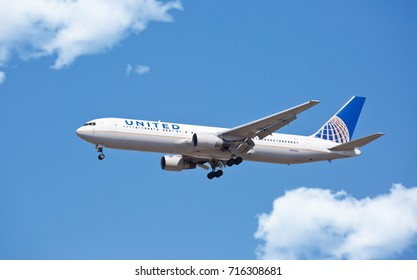 Chicago, USA - September 16, 2017: A United Airlines Boeing 767 landing at O'Hare International Airport.