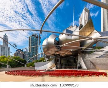 Chicago, USA - September 18, 2019 : Jay Pritzker Pavilion view on Millenium Park in Chicago City.