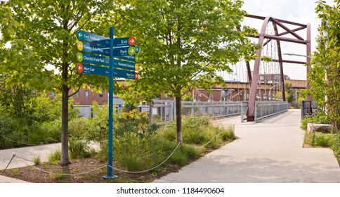 Chicago, USA - September 20, 2018: Chicago's Bloomingdale Trail, dubbed The 6O6, is a 2.7 mile elevated pedestrian trail that travels through the Bucktown and Humboldt Park neighborhoods.