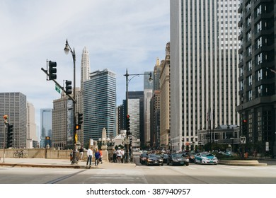 Chicago, USA - September 24, 2015: People and cars on the street of Chicago, Illinois