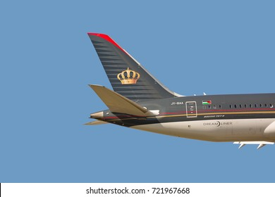 Chicago, USA - September 25, 2017: Close -up of the tail of a Royal Jordanian Airlines Boeing 787 on final approach to O'Hare International Airport.