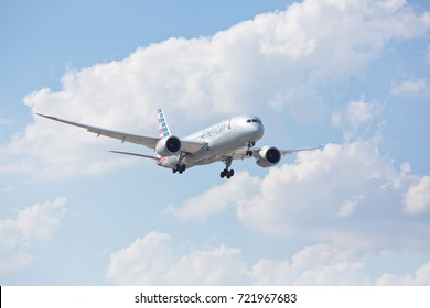 Chicago, USA - September 25, 2017: American Airlines Boeing 787 on final approach to O'Hare International Airport.