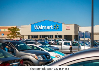 Chicago, USA - September 25, 2018: Walmart supermarket sign at day time