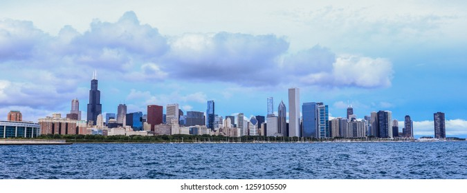 Chicago, USA - September 30, 2018: Panoramic Day View to the Cityscape