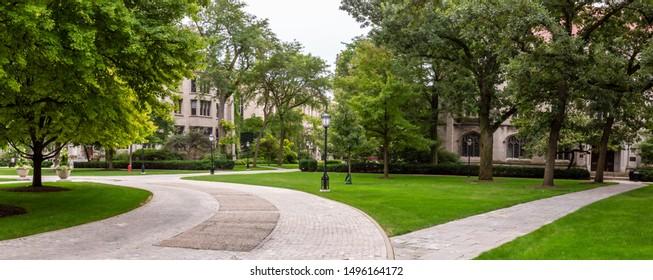 Chicago, USA - September 4, 2019: Panoramic views around the University of Chicago.