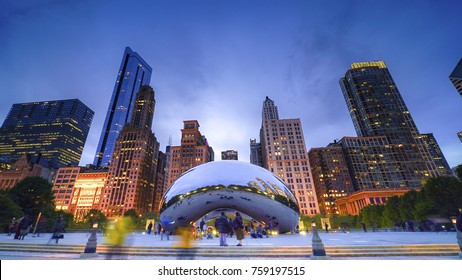 Chicago, USA - September 6, 2017: Famous Cloud Gate also known as the Bean is one of the park's major attractions at night
