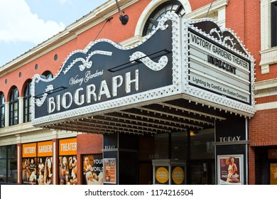 Chicago, USA - September 7, 2018: Biograph Theater site of the 1934 murder of mobster, John Dillinger, the theater is on the National Register of Historic Places.