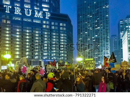 CHICAGO, USA-January 20, 2017. Thousands gathered in front of Trump Tower Chicago to protest the presidential inauguration of Donald Trump.