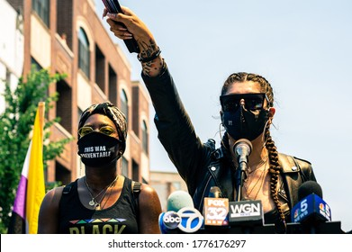 Chicago, USA-June 28, 2020: A grassroots march for Gay Pride with emphasis on Black Lives and Trans Lives. Organized by Brave Space Alliance, The National Trans March, Gay Liberation Network, CAARPR