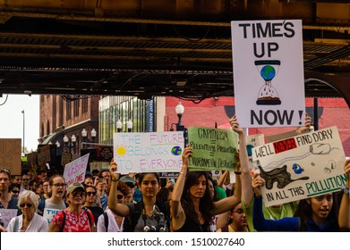 Chicago, USA-September 20, 2019: Global Climate Strike. Thousands of teens and people march downtown to bring awareness to the urgency of Climate Change.