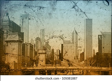 Chicago view in vintage style