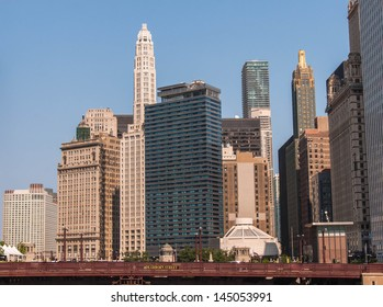 Chicago Waterfront and High Rise Buildings view with Dearborn bridge and river walk, Illinois USA. Lifestyle series.