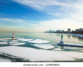 Chicago winter skyline and frozen Lake Michigan